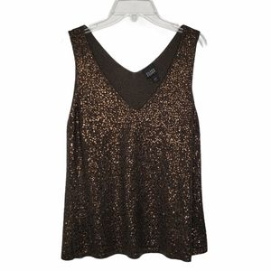 Eileen Fisher Sleeveless V Neck Sequined Knit Top